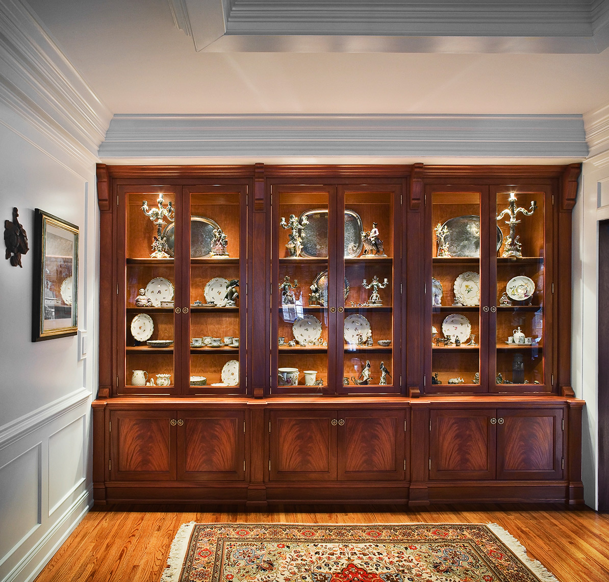 custom kitchen cabinets Hunterdon County, NJ-Traditional Mahogany Dinning Room Cabinet