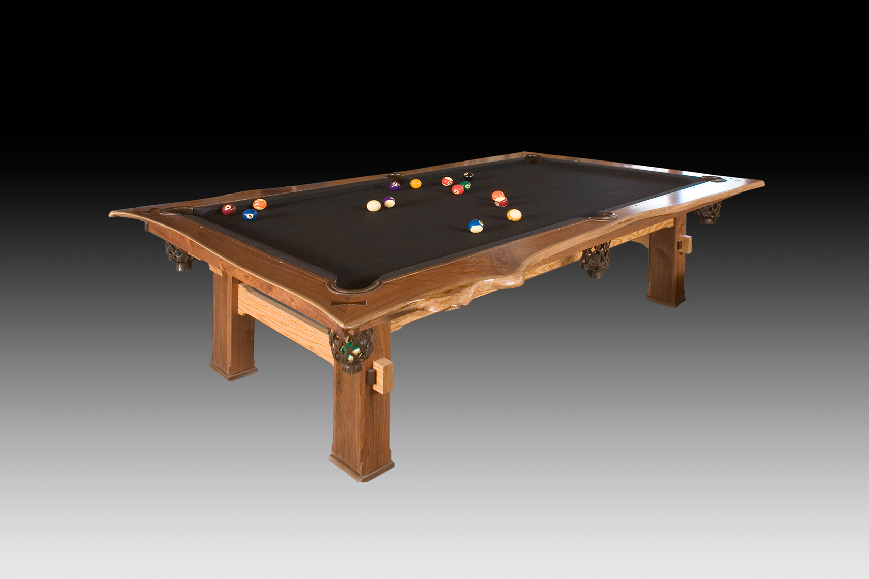 new jersey custom wood furniture-Rustic Walnut Pool Table with Live Edges