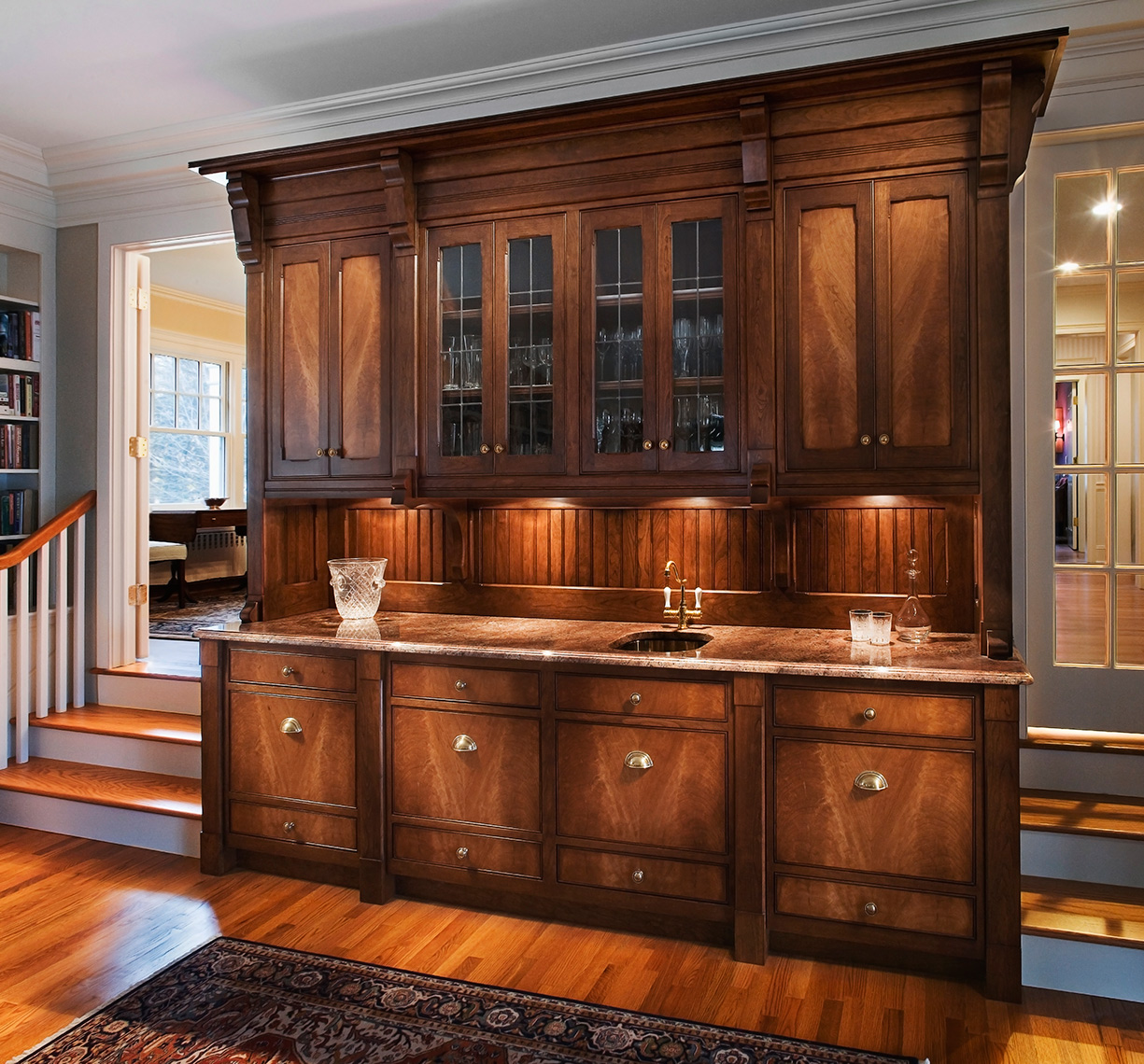 custom kitchen cabinets Hunterdon County, NJ-Traditional Residential Bar in Figured Cherry