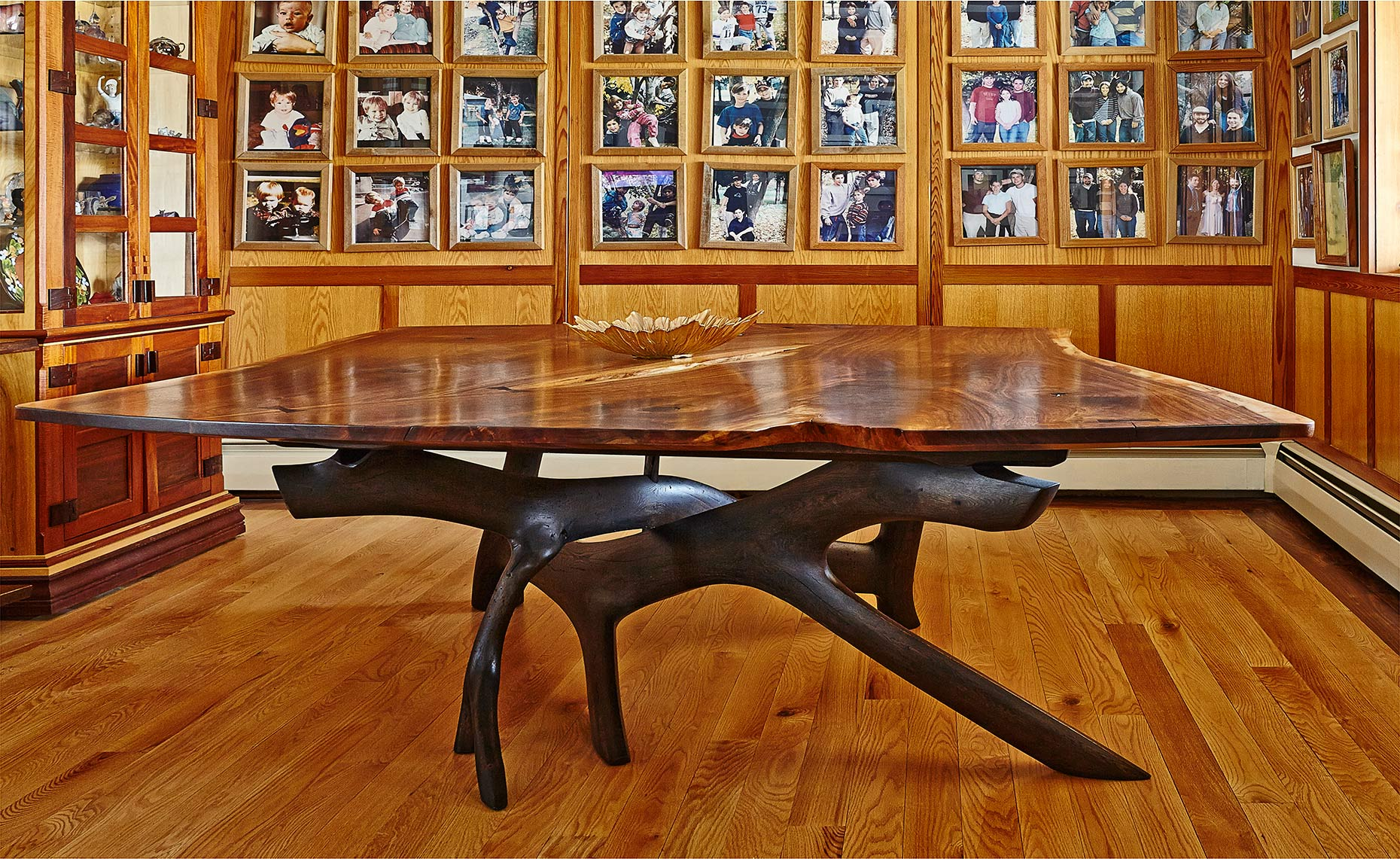 new jersey custom wood furniture-Walnut Dinning Room Table with Sculpted base