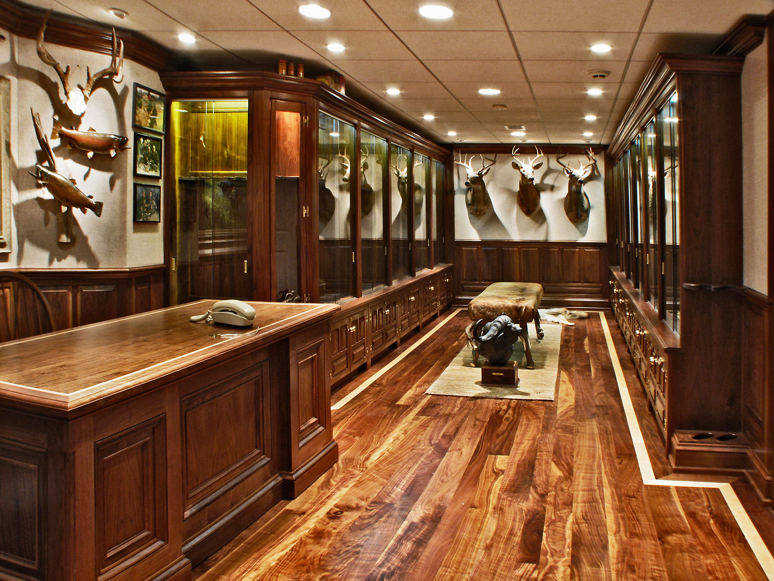 4 Custom Figured Walnut Gun Room