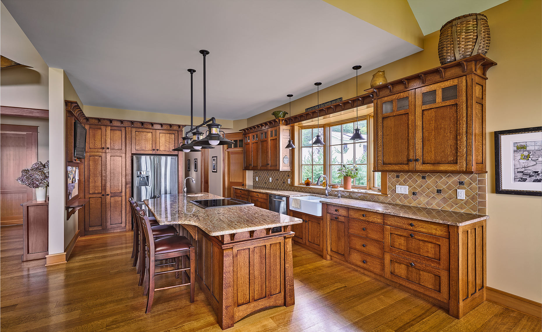 8 13 Custom Mission Style Kitchen Quartered Oak