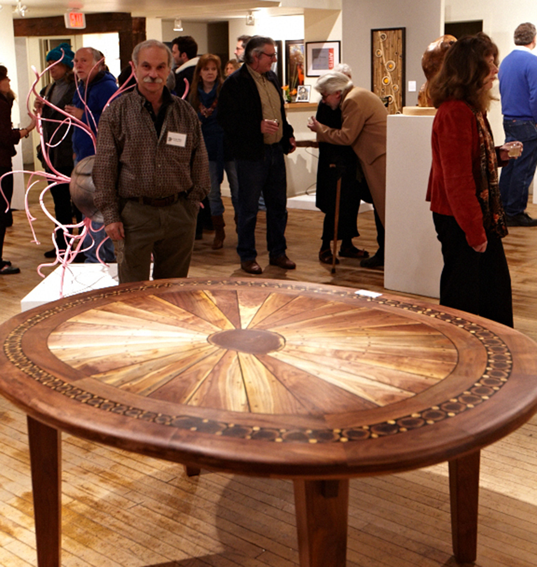 new jersey custom wood furniture-Artistic walnut sunburst table contemporay, crafts style, rustic 1