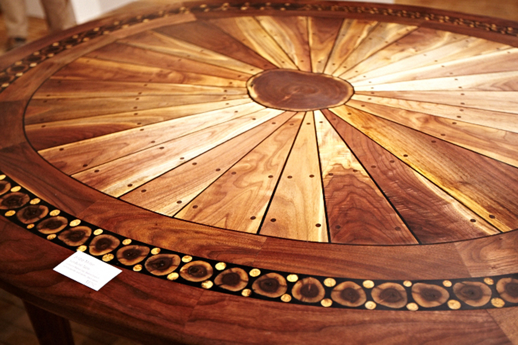 new jersey custom wood furniture-Artistic walnut sunburst table contemporary, crafts style, rustic