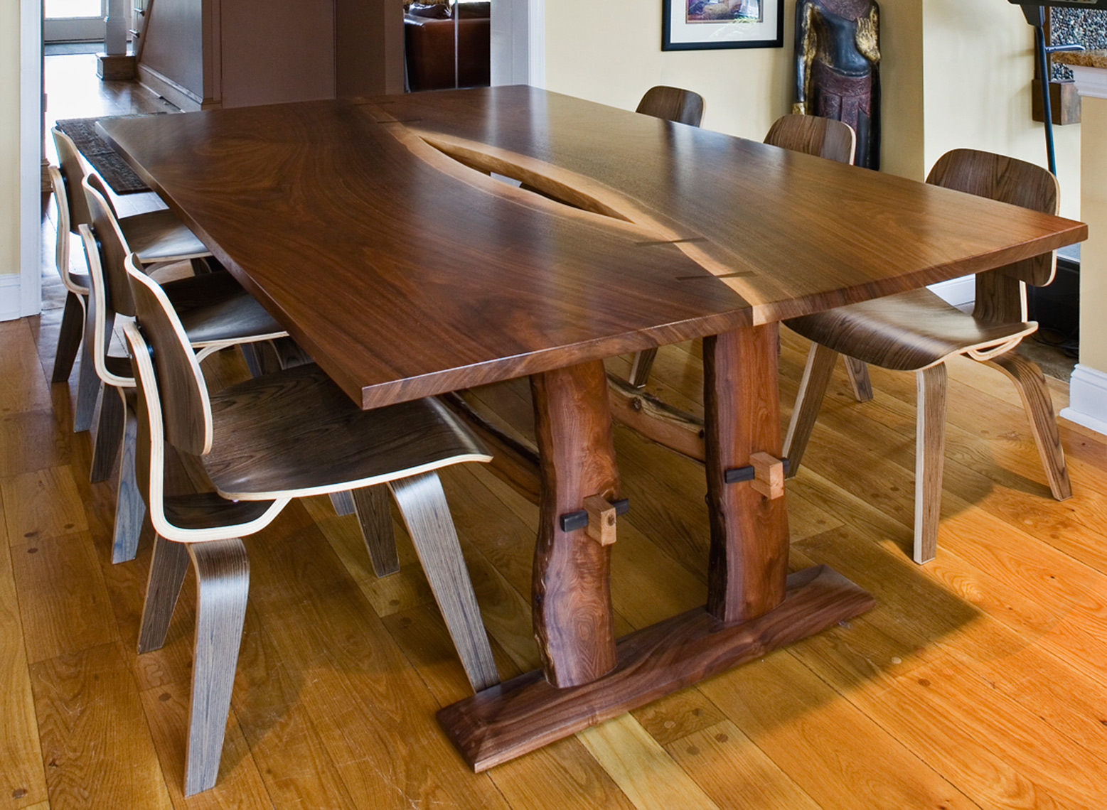 Book Matched solid Walnut Table with-Branch-Base--Custom-Furniture, rustic 1
