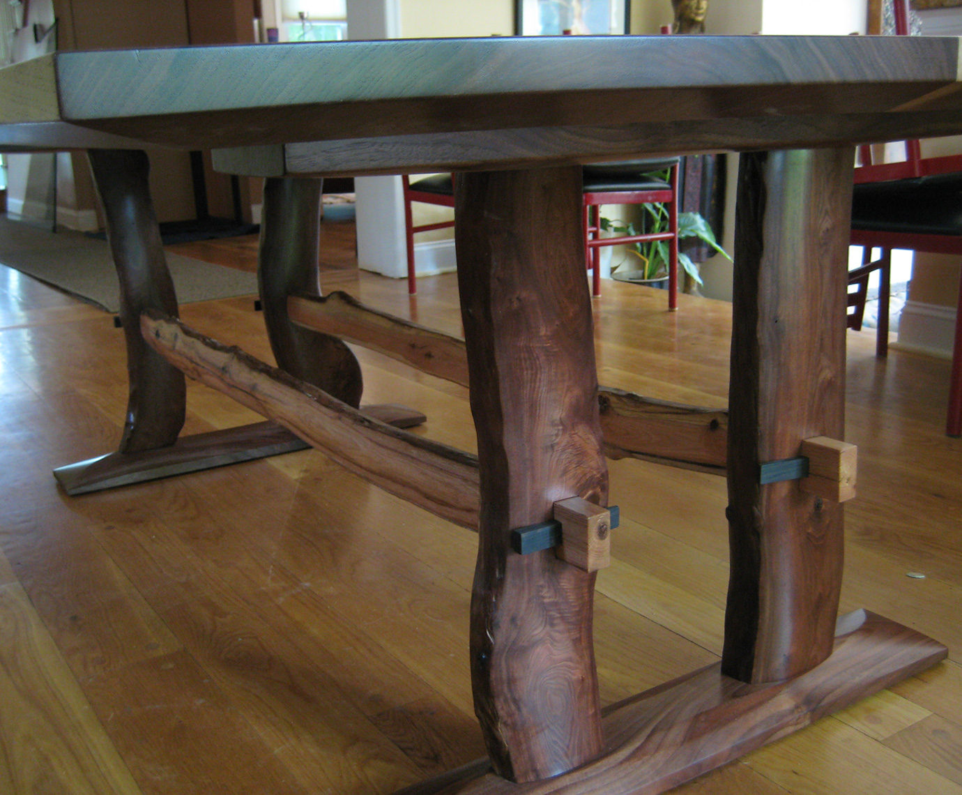 Book Matched solid Walnut Table with-Branch-Base--Custom-Furniture, rustic 2