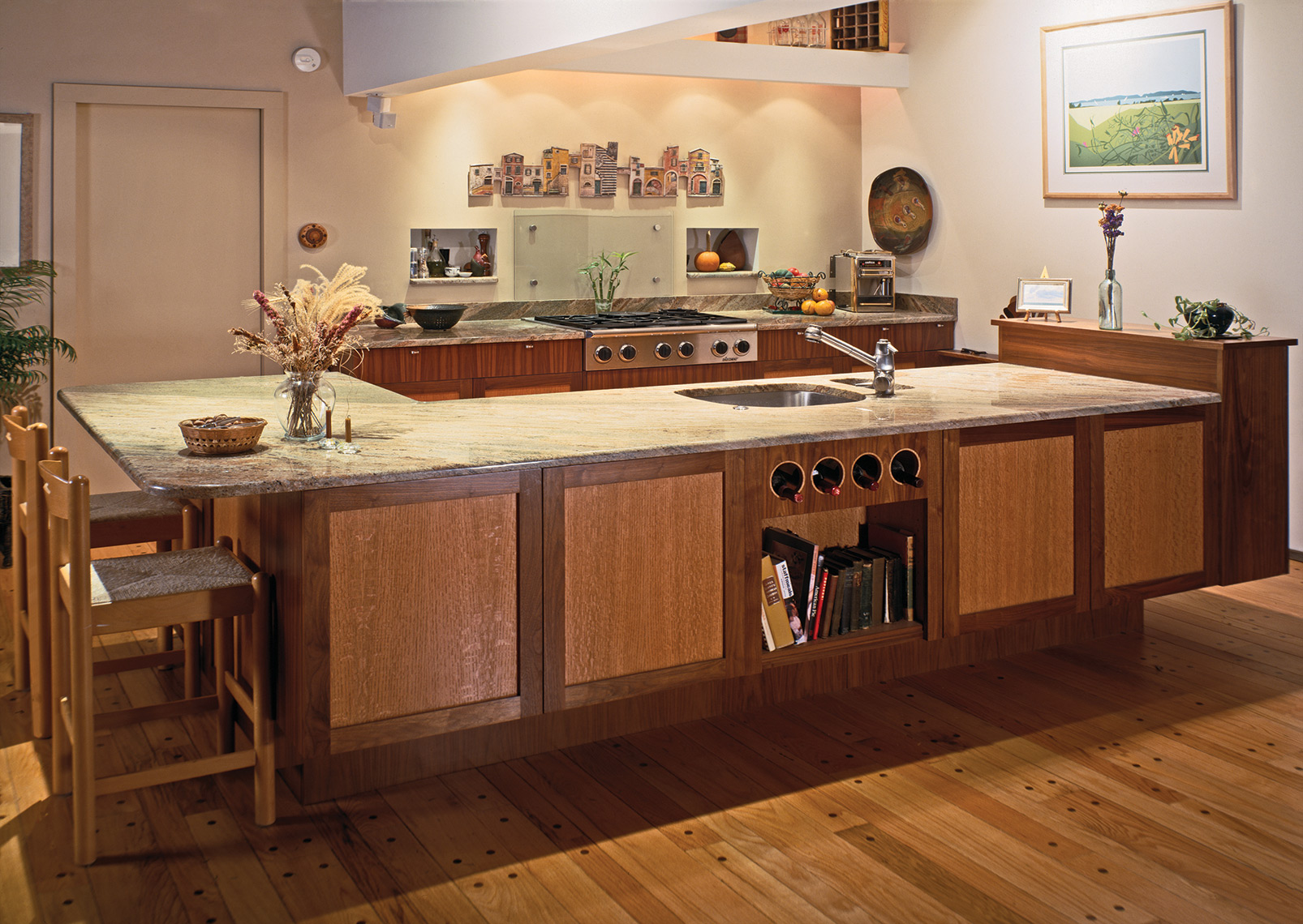 Contemporary-Open-Design-Kitchen,-Walnut-and-Quartered-Red-Oak,-Granite-Counters-1
