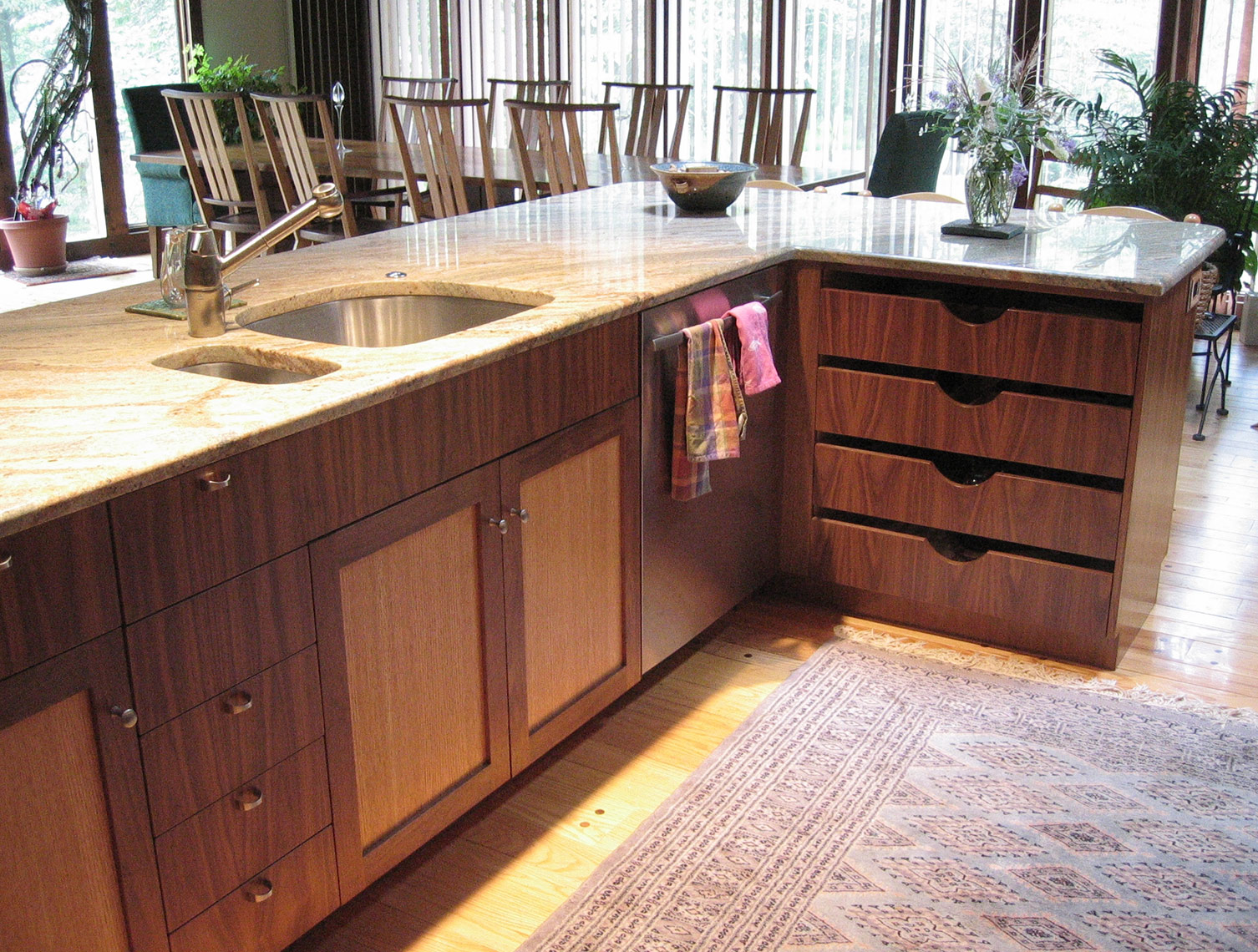 custom kitchen cabinets- mercer county, nj-by birdie miller-Contemporary-Open-Design-Kitchen,-Walnut-and-Quartered-Red-Oak,-Granite-Counters-6