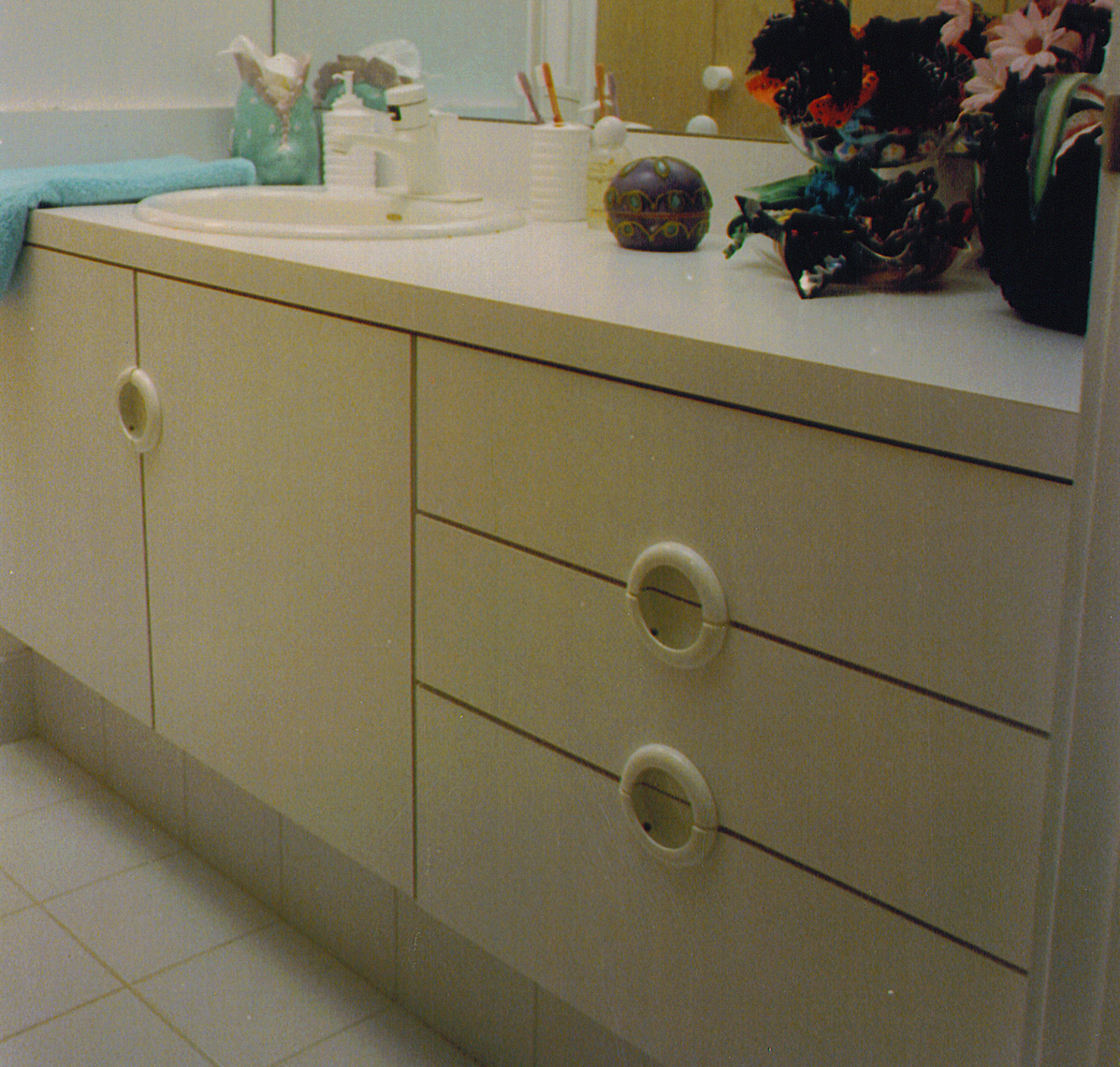 custom cabinets Morris County, NJ-Contemporay-Vanity,-Plastic-Laminate-Vanitiy