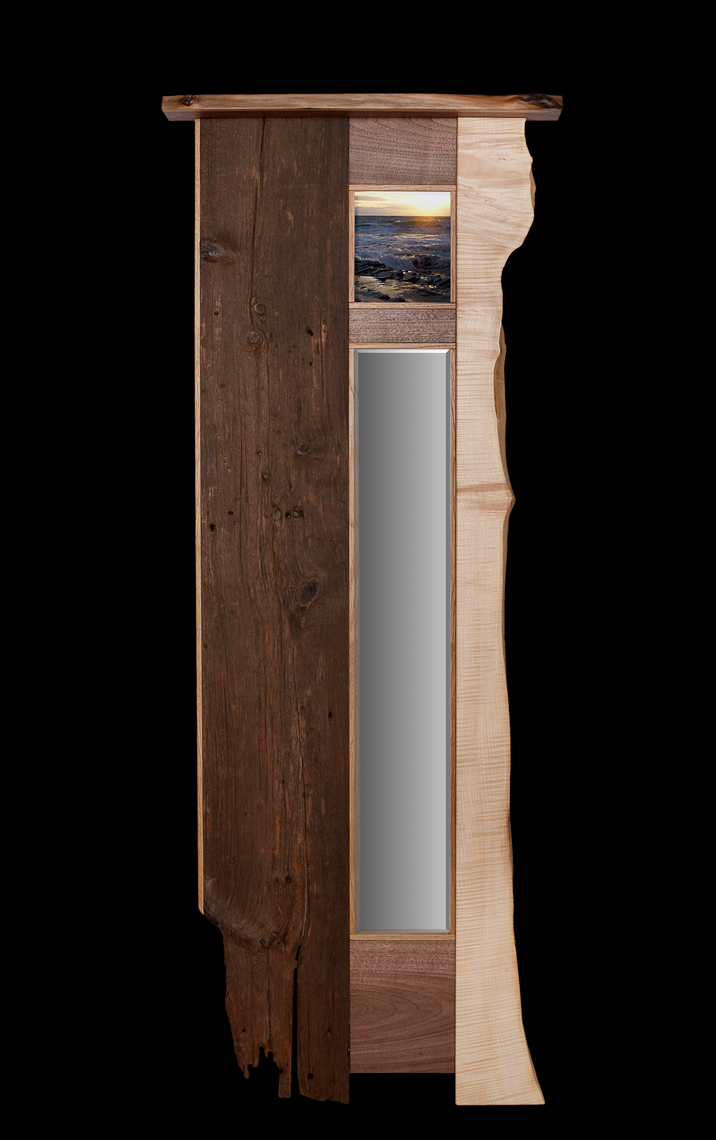 Contemporay Crafts Style Wall Mirror Recyled barn Wood and Figured Maple