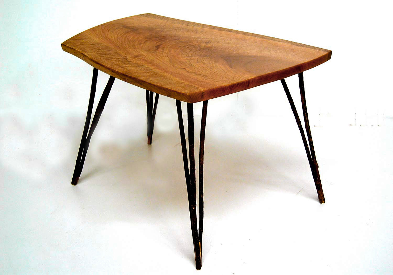 new jersey custom wood furniture-Contemporay Side Table with Figured Oak top and Branch Legs