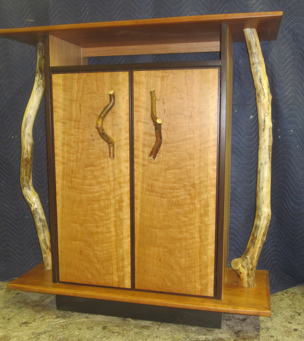 Custom-Figured-Cherry-Branch-Cabinet Dinning room Buffet-Custom Woodworking 3