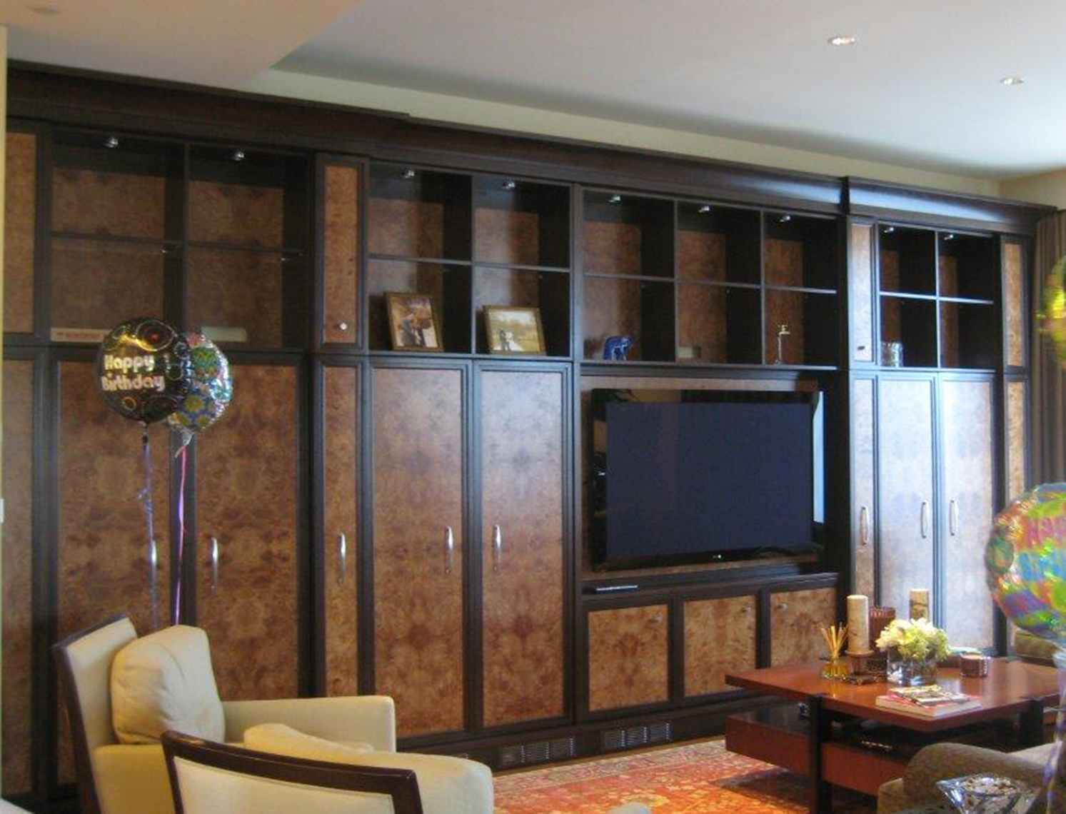 custom cabinets Morris County, NJ-Media-Cabinet-Transitional-Design-Burl-Wood