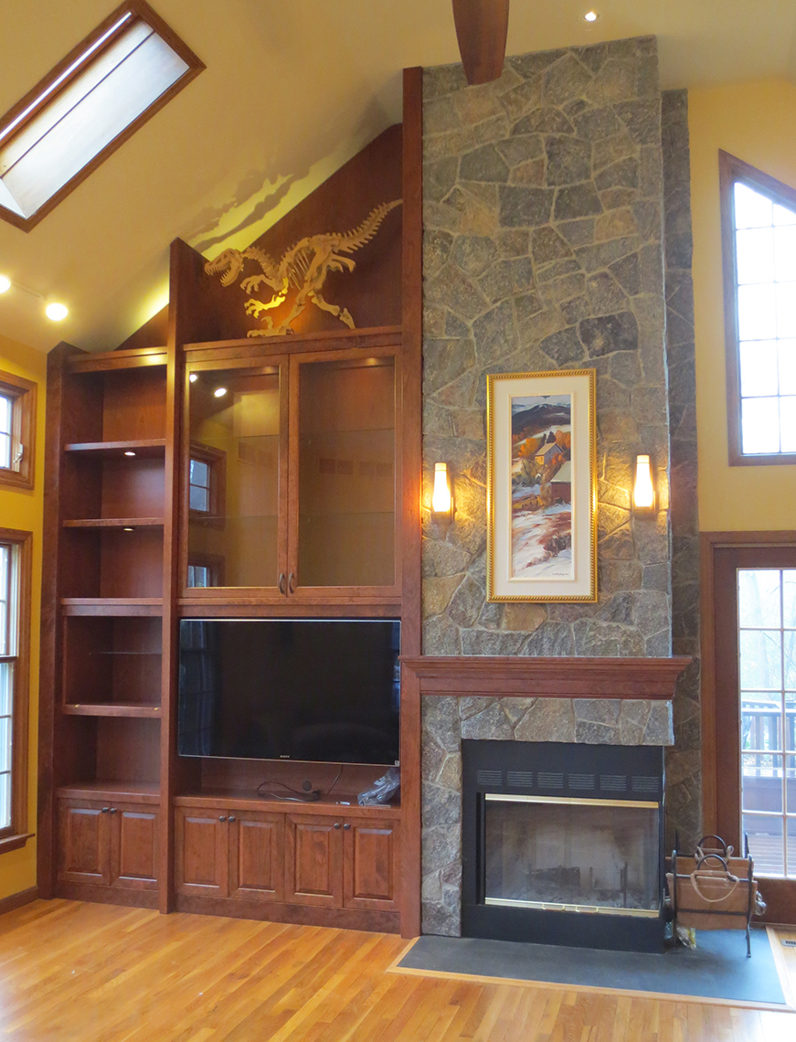 Custom-Woodworking-Transitional-contemporary Cherry-TV-Fire-Place-surround Cabinet