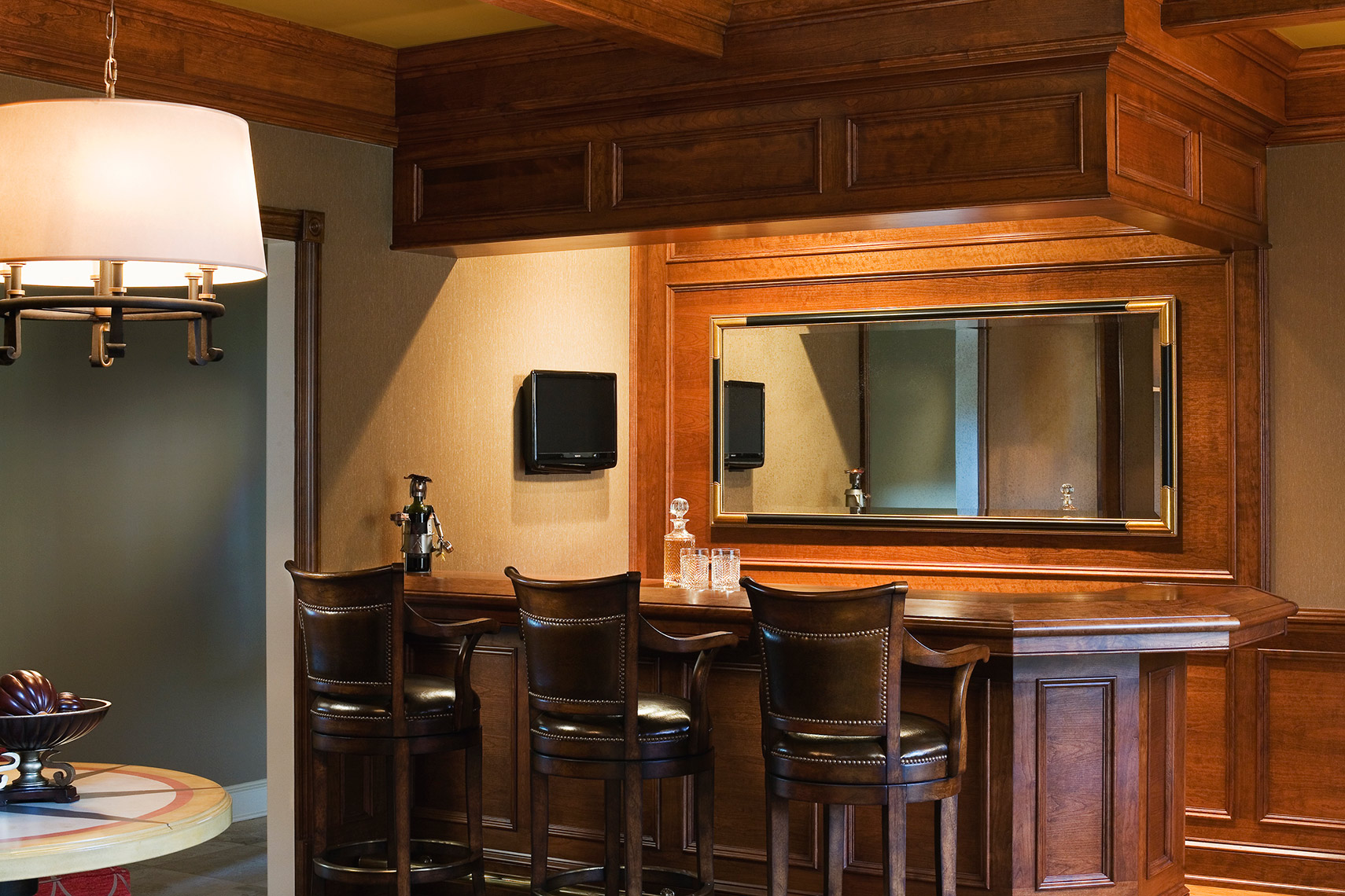 custom cabinets nj-Traditional Residential Bar Cherry