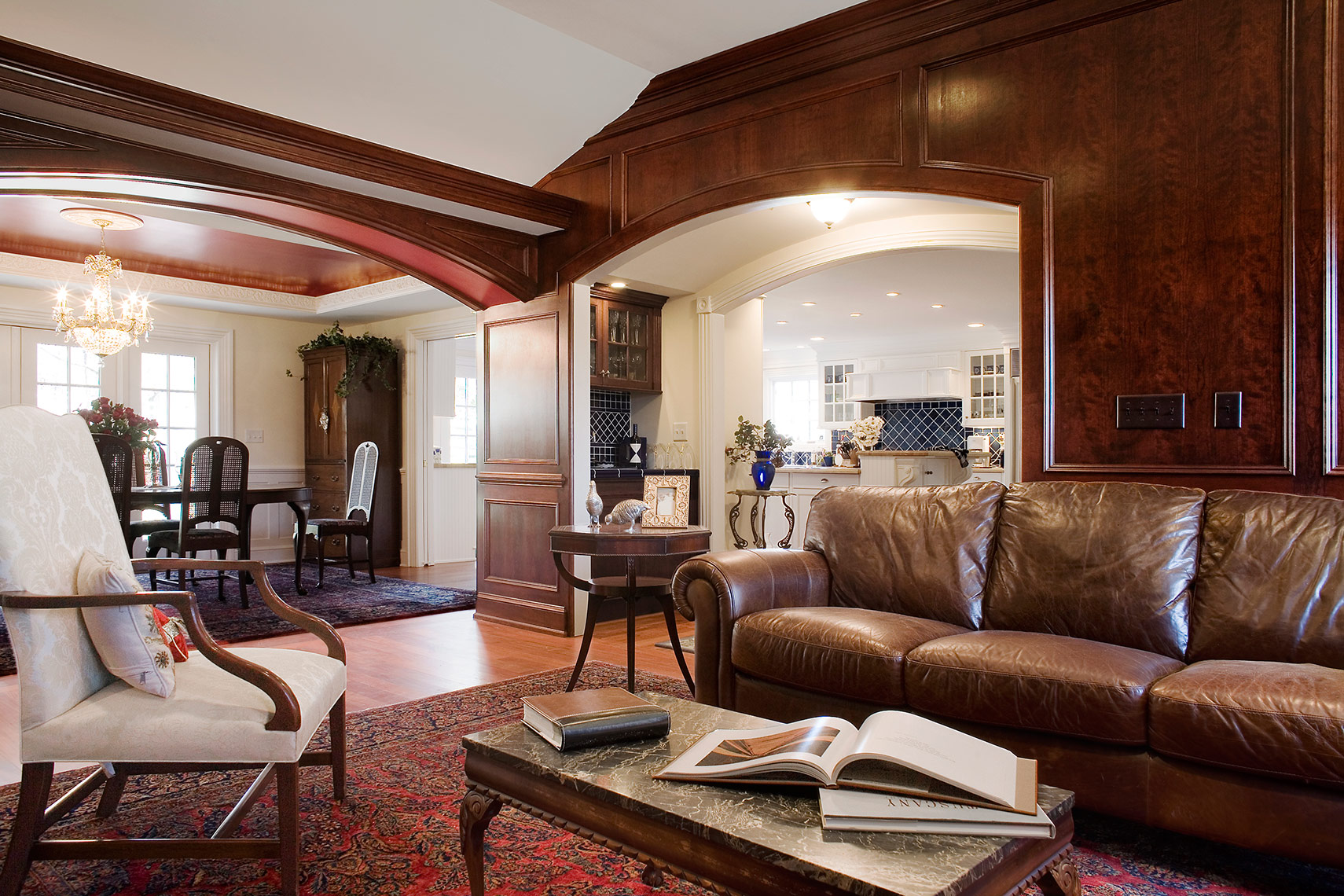 custom cabinets nj-Family Room Traditional Woodwork Figured Cherry and Trim work Crown Moulding