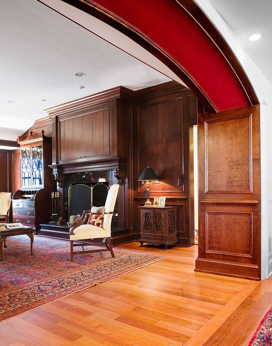 custom cabinets nj-Family Room Traditional Woodworks Figured Cherry and Trim work Crown Moulding