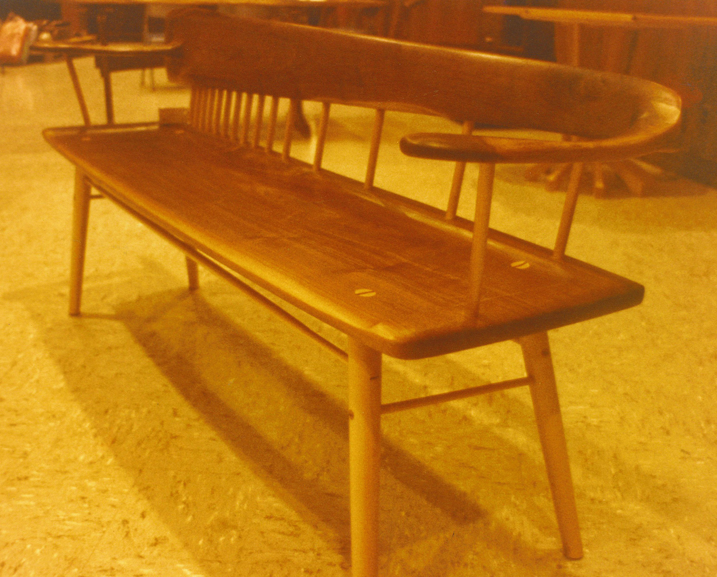 Figured Walnut-Flitch Seat wood Bench Custom Furniture 3