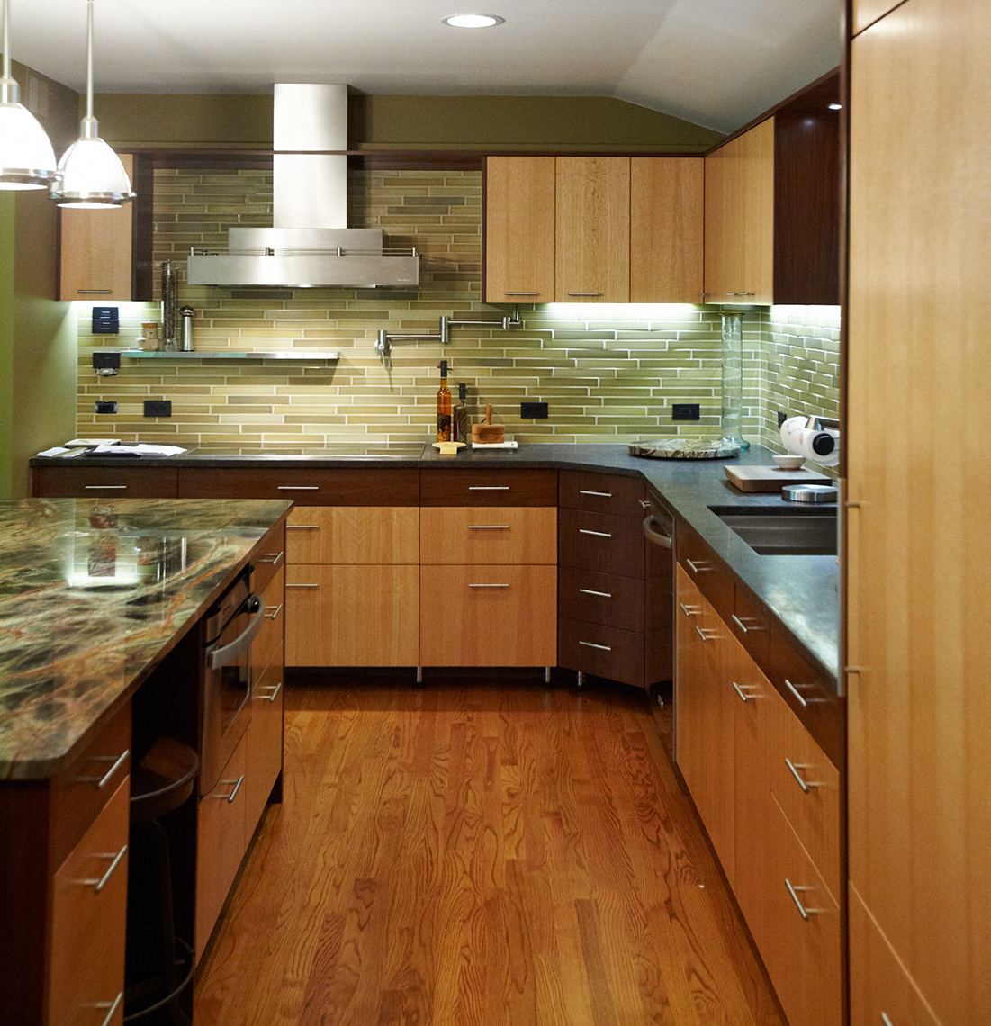 custom kitchen cabinets- mercer county, nj-by birdie miller-Contemporary-Rift-Grain-Oak-and-Walnut-Custom-Cabinets-2