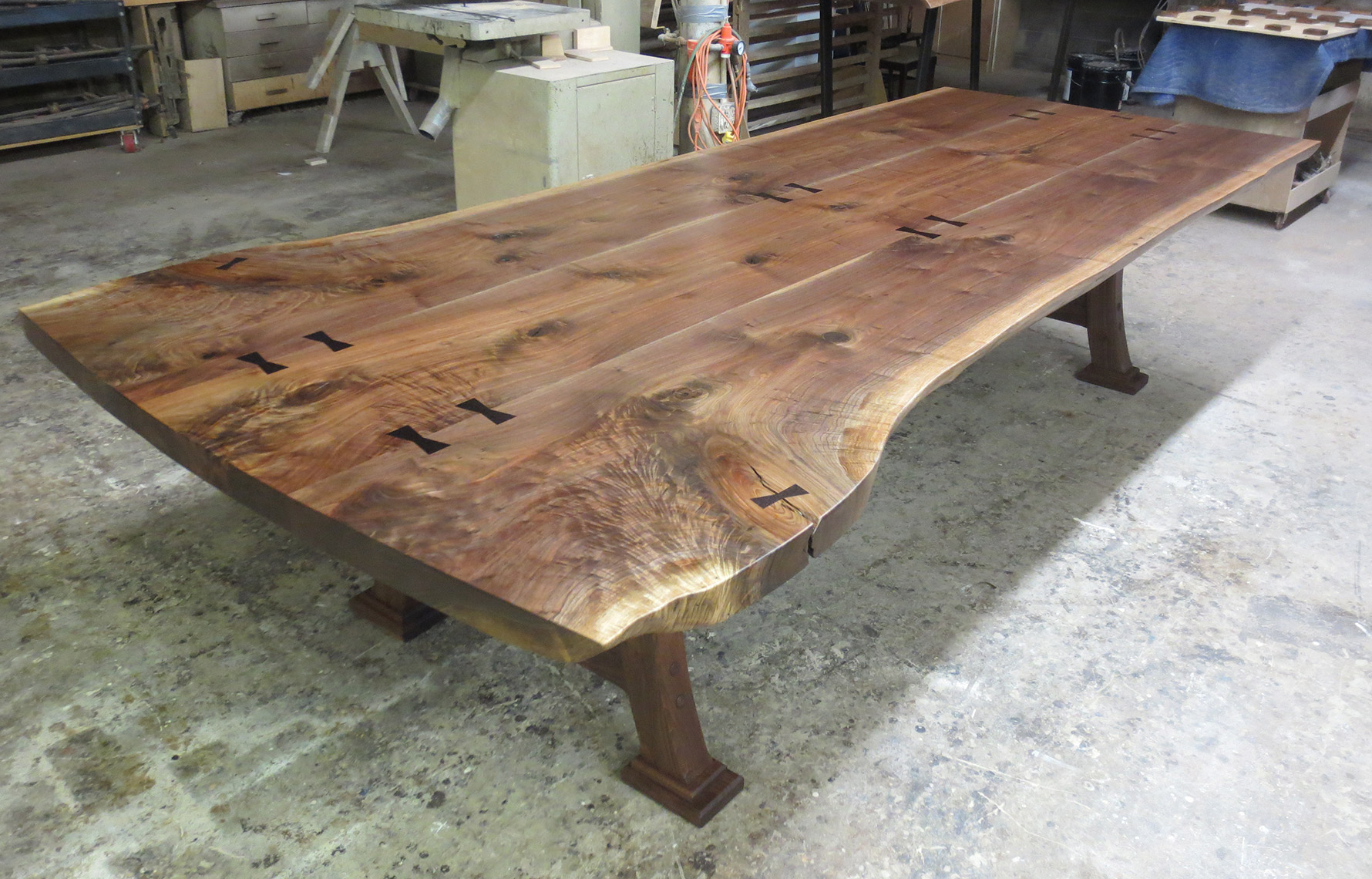 new jersey custom wood furniture-Live-Edge-Figured-Walnut--Matched-Grain-Dinning-Room-Table--Custom-Furniture