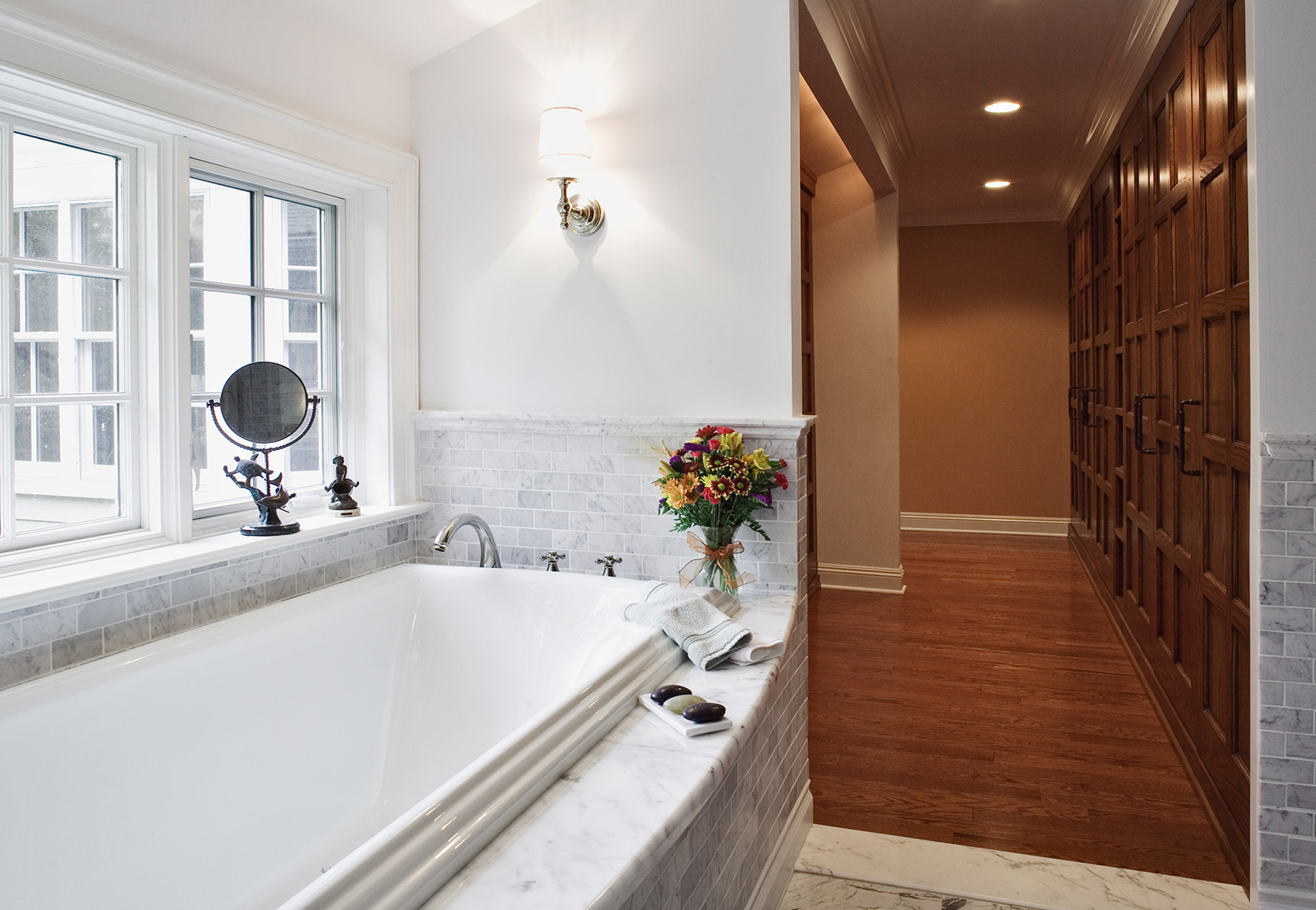 custom cabinets nj-Master Bath Dressing Room Traditional Woodwork and Trim work Crown Moulding