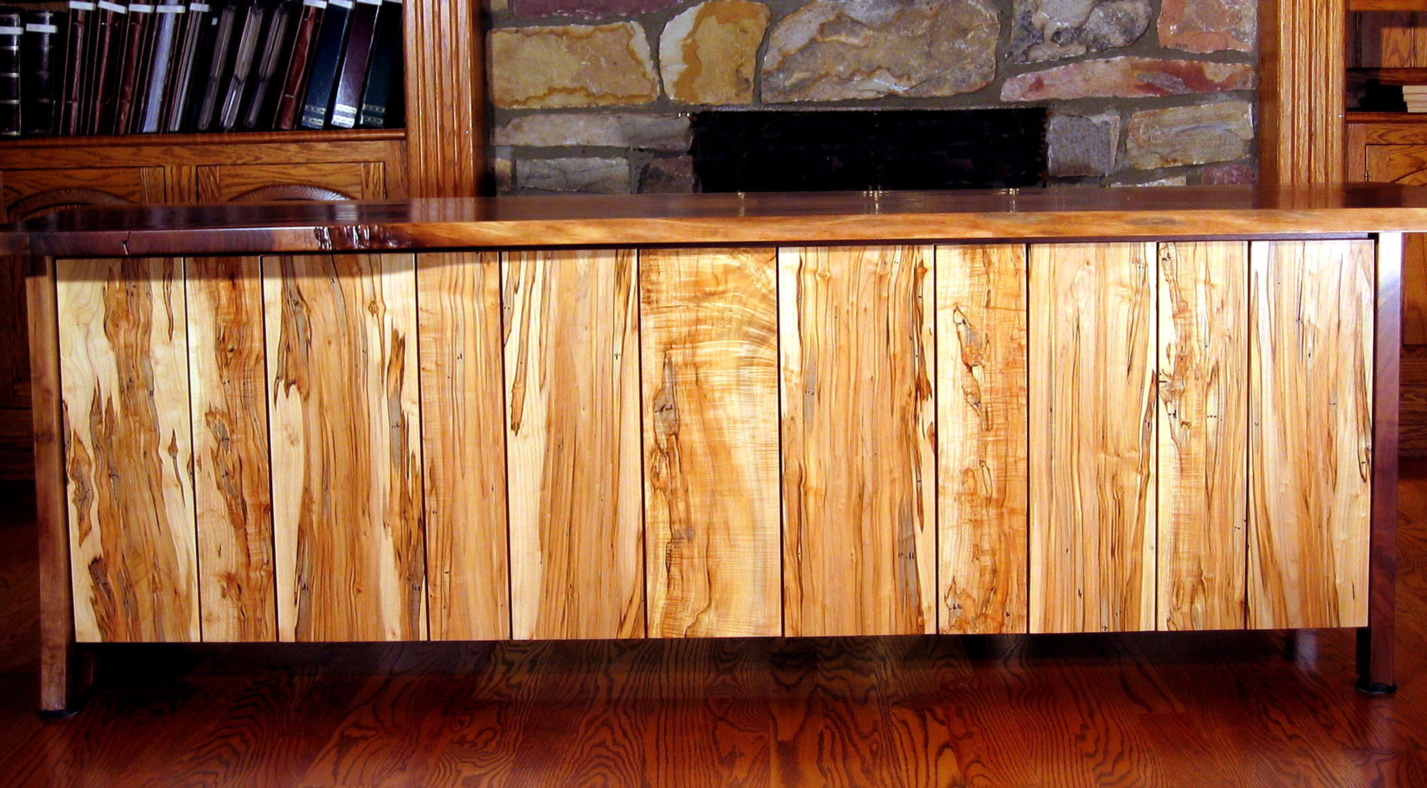 custom cabinets Morris County, NJ-Office-Desk-Walnut-Ambrosia-Maple-Woodworking-1