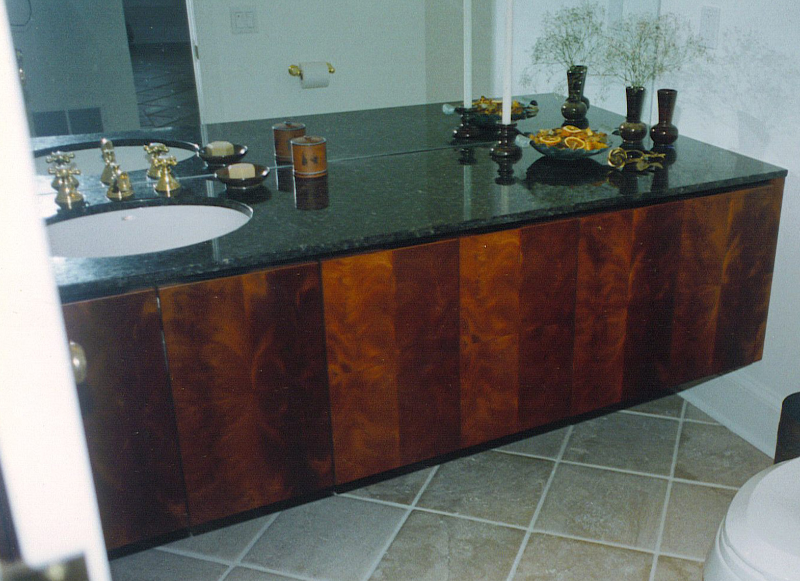 custom cabinets Morris County, NJ-Powder-Room-Vanity,-Mahagony-with-Marble-Top-Vanitiy-2