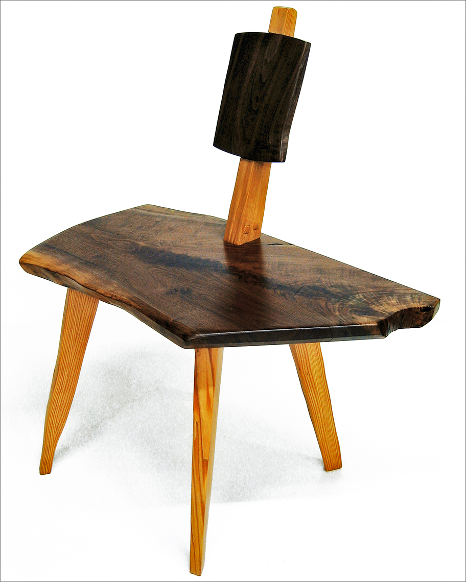new jersey custom wood furniture-Rustc Oak and Walnut Stool