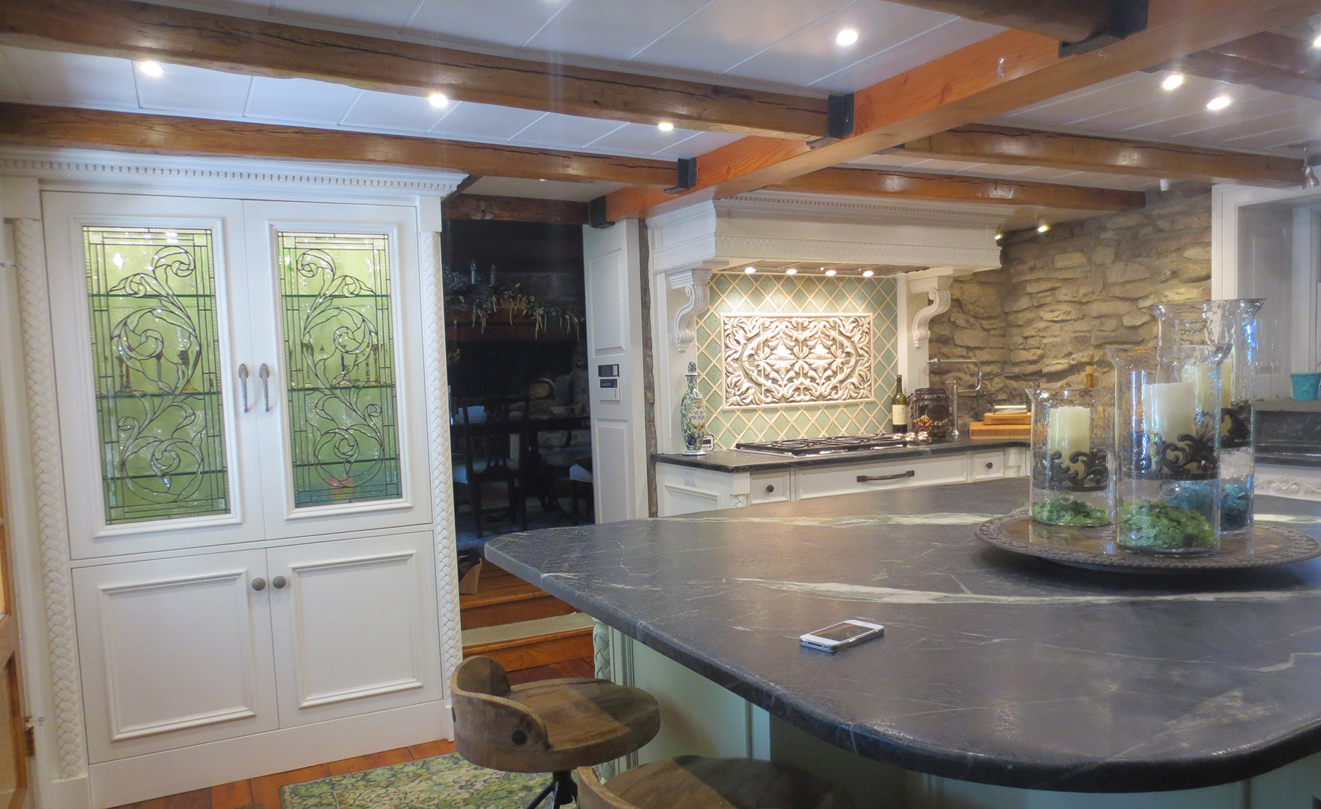 custom kitchen remodels bucks county PA - Traditional, classic custom cabinets, painted, carvings 1