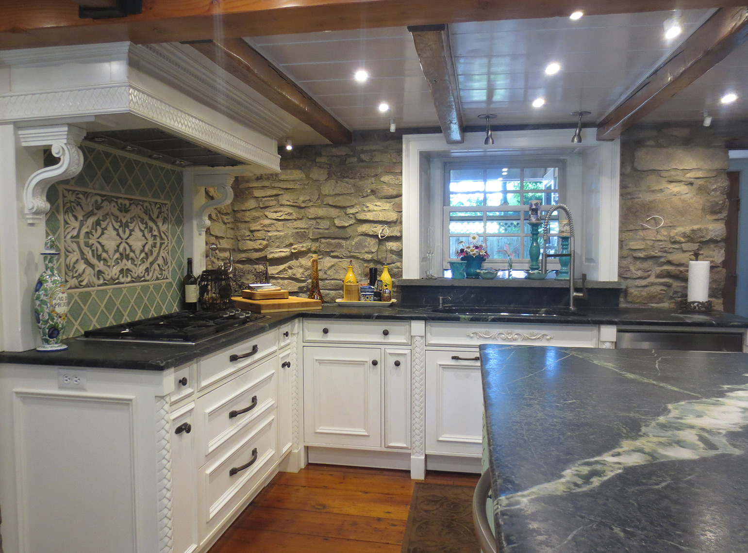 custom kitchen remodels bucks county PA - Traditional, classic custom cabinets, painted, carvings 2