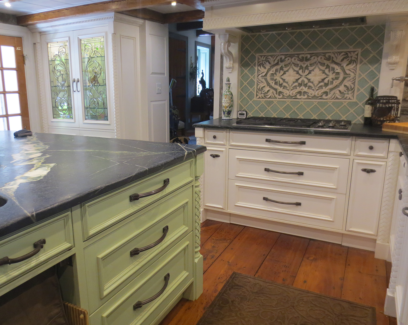 custom kitchen remodels bucks county nj-Traditional, classic custom cabinets, painted, carvings 3