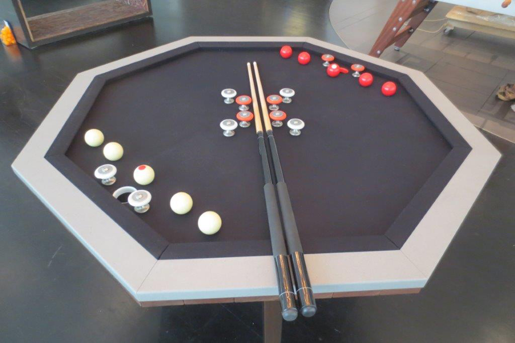 custom bumper pool table, walnut and lime stone  1