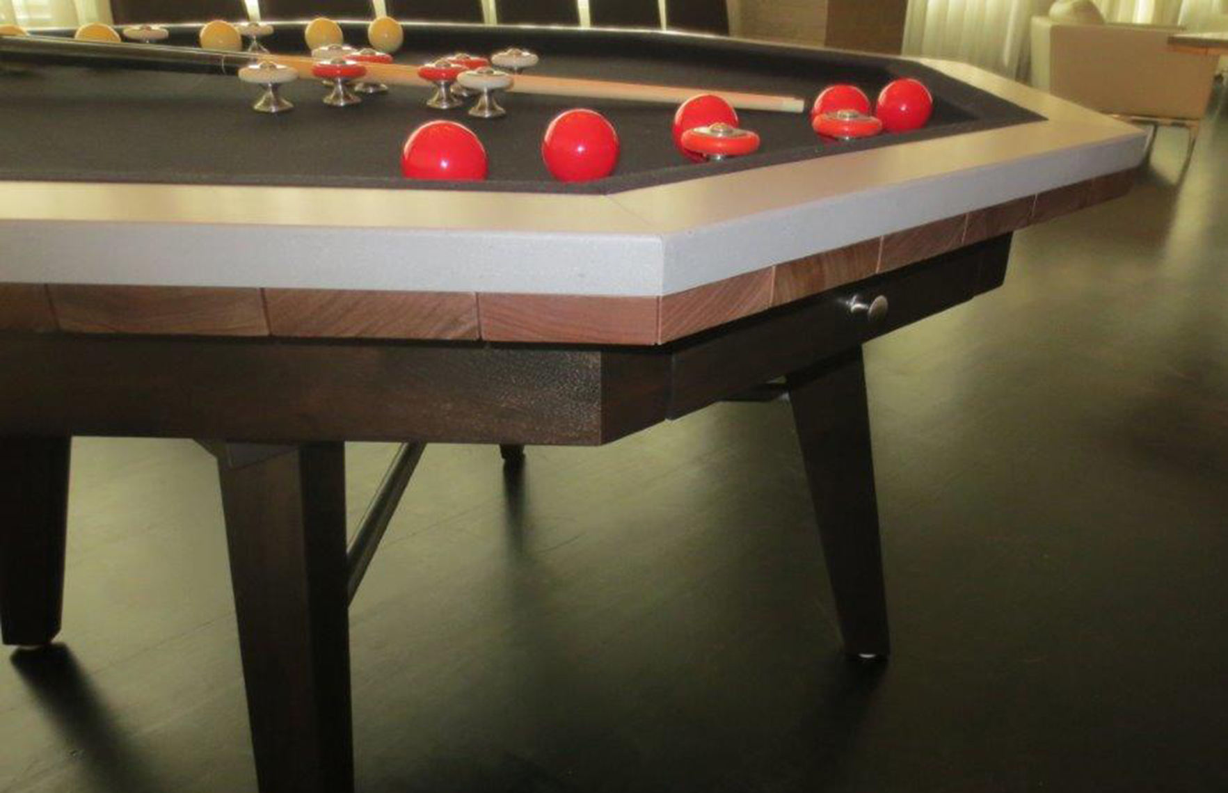 custom bumper pool table, walnut and lime stone  2