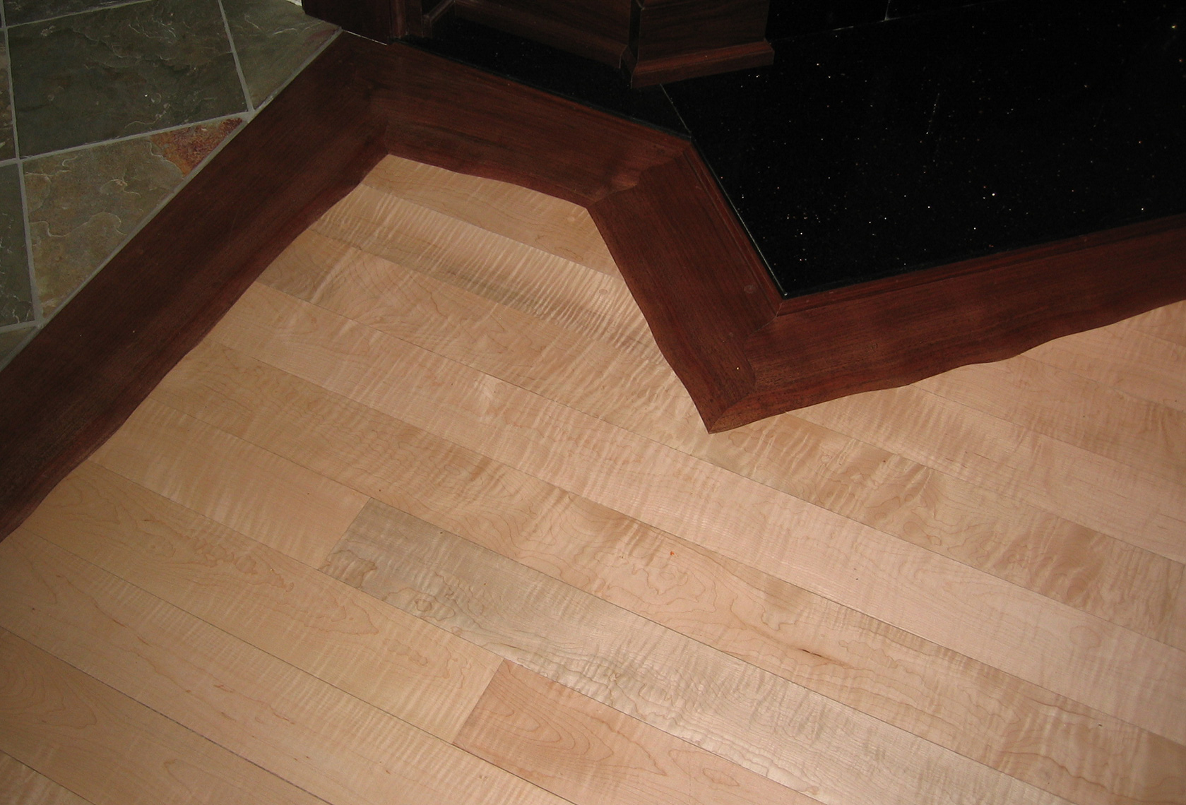 custom wood Floor-Custom-Figured-Maple-Live-Edge-Walnut-Border-1