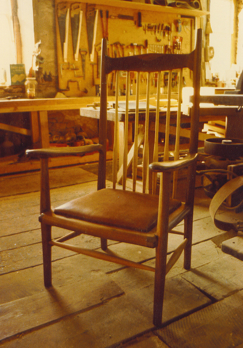 new jersey custom wood furniture-maloof carved Walnut Chair-with Leather Seat Custom chair Furniture