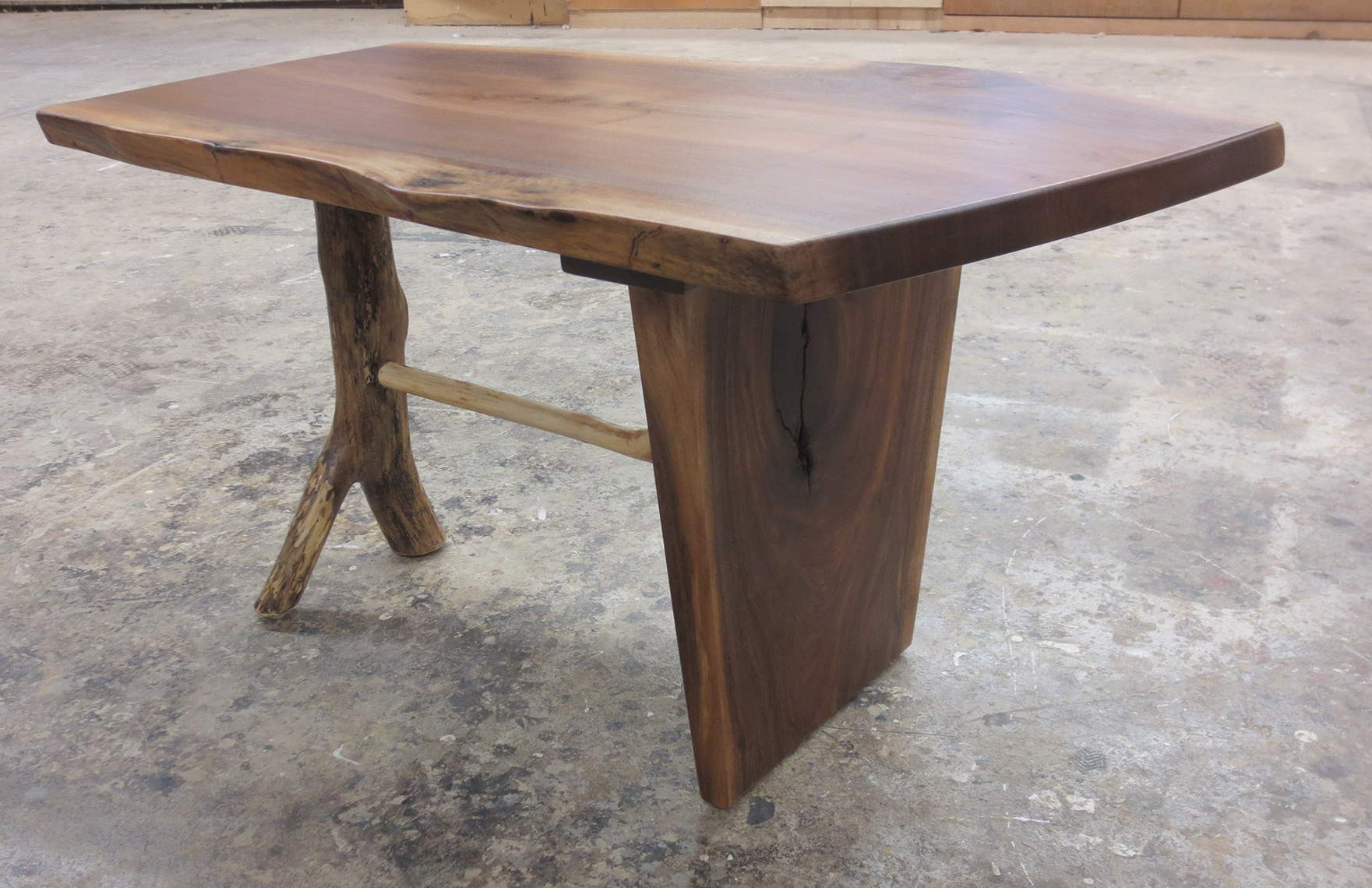new jersey custom wood furniture-walnut live edge, natural edge free form edge, rustic  coffee table, rustic